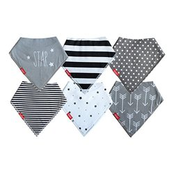 Baby Bandana Drool Bibs   6 Pack Unisex Gift Set (Gray Collection) by Oak & Navy