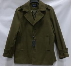 Braveman Men's Single Breasted Wool Blend Coats - Olive - Size: L