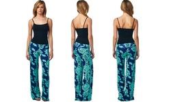 Popana Women's Damask Print Palazzo Pants - Turquoise - Size: Medium