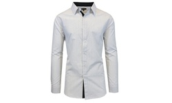 Mens Slim Fit Long Sleeve Shirt - White with Black Dots - Size: Large