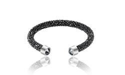 "7.5"" Adjustable Swarovski Elements Cuff Bangle Bracelet - Black"