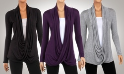 Hacci Criss Cross Cardigan - Black/Heather Grey/Eggplant - Size:XL - 3Pack