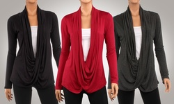 Women's 3-Pack Hacci Criss Cross Cardigans - Black/Charcoal/Red - Size: L