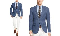 Renoir Men's Classic Fit 100% Wool Blazer - Charcoal Blue - Size: 46S