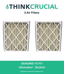 2PK Ultravation 91-006 Pleated Furnace Air Filter 20x25x5 MERV 8, Designed & Engineered by Crucial Air 1265780