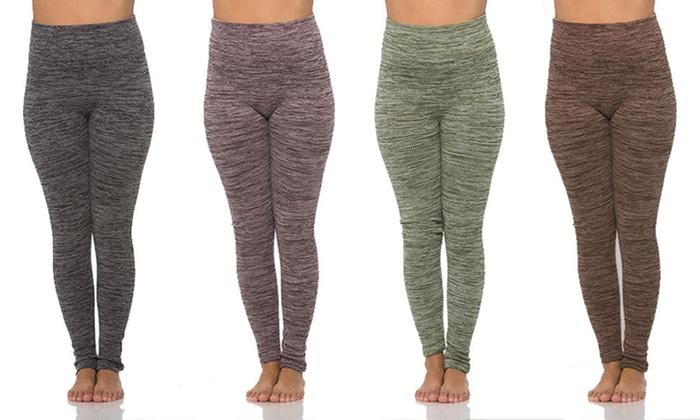 27dd4a59cf ... Maze Collection Space Dye Ribbed Leggings - 4-Pack - Size: L/XL ...