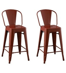 """Carlisle Backed 24"""" Counter Stool Steel - Set of 2- Red"""