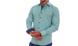Azaro Uomo Men's Dotted Button Down Shirt - Green - Size: L