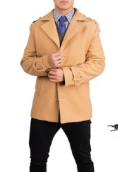 Braveman Men's Single Breasted Wool Blend Coat - Camel - Size: Medium