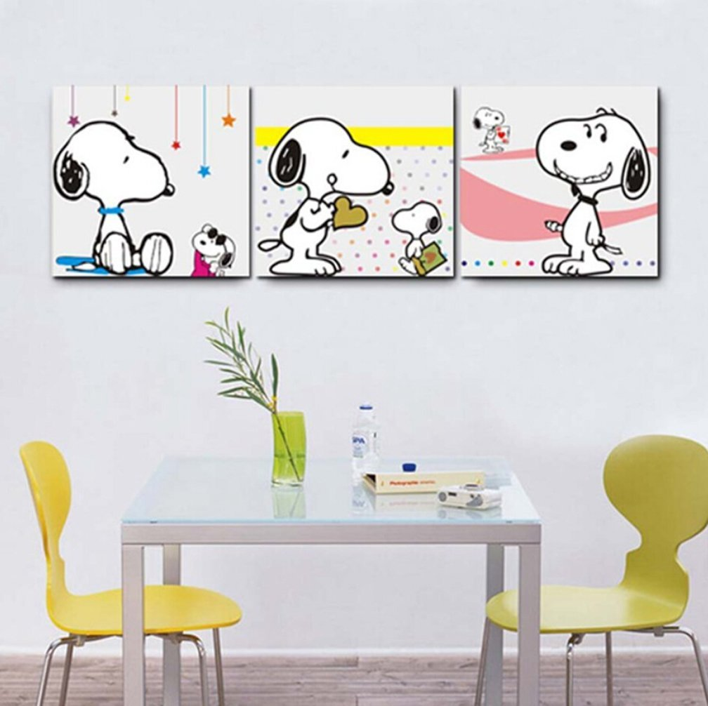 Babfaelry Artwork Wall Decor Snoopy Paintings for Kids Room - 3 ...
