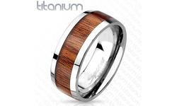 West Coast Jewelry Wood Print Inlayed Titanium