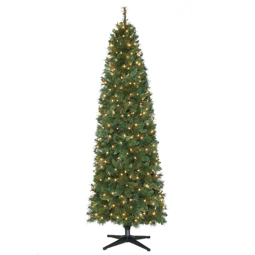 7' Pre-Lit LED Wesley Pine Artificial Christmas Tree w/ Warm White ...