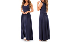 Women's Long Ruched Dress - Navy - Size: Large