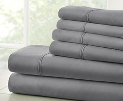 Microfiber Bed Sheets Set: Full/Gray 993033