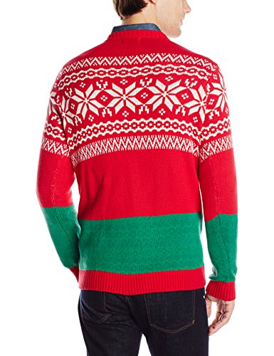 33 Degrees Mens Ugly Christmas Long Sleeves T Rex Sweater Red