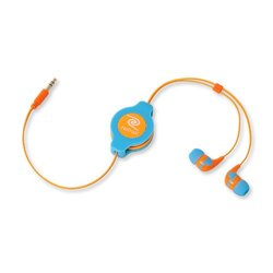 ReTrak Retractable Stereo Earbud Headphones - Neon Blue/Orange