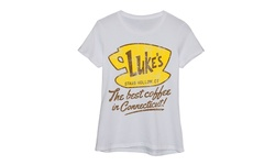 Ladies Short Sleeve Fitted Tee - Lukes Dinner Best Coffee In CT - Size: M