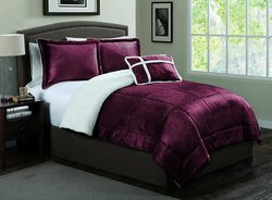 Geneva Home Fashion 4-Piece Micro Sherpa Comforter Set - Red - Size: Queen
