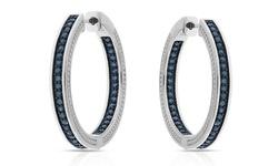 1.00ct Genuine Diamond Hoop Earrings In Sterling Silver - Blue