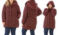 Steve Madden Hooded Chevron Quilted Coat - Merlot/Standard - Size: Large