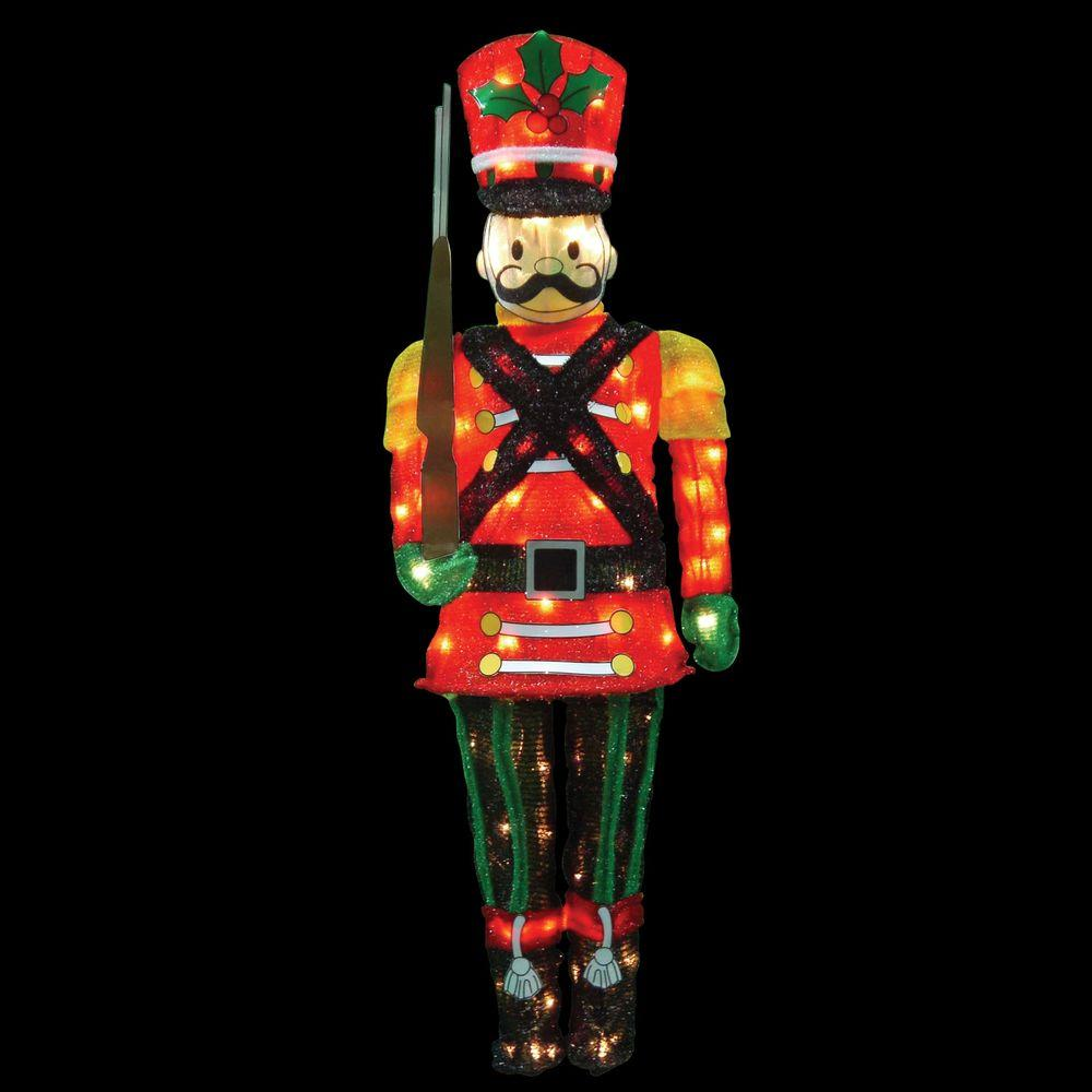 hah 60 candy cane lane led pre lit toy soldier for christmas decorations