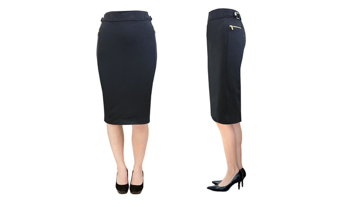 efcdc8cb8d38 ... Harvic Women s Side Zip Pencil Skirt - Zipper   Buckle Below Knee ...