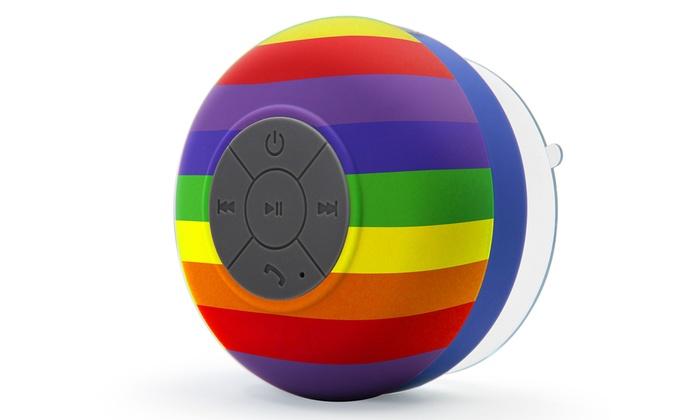 OnTek Bluetooth Shower Speaker with Mic & Controls - Rainbow