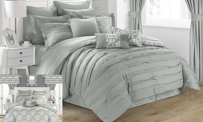 Genial ... Chic Home 24 Piece Donnella Bed In A Bag Comforter Set   Silver   Size  ...