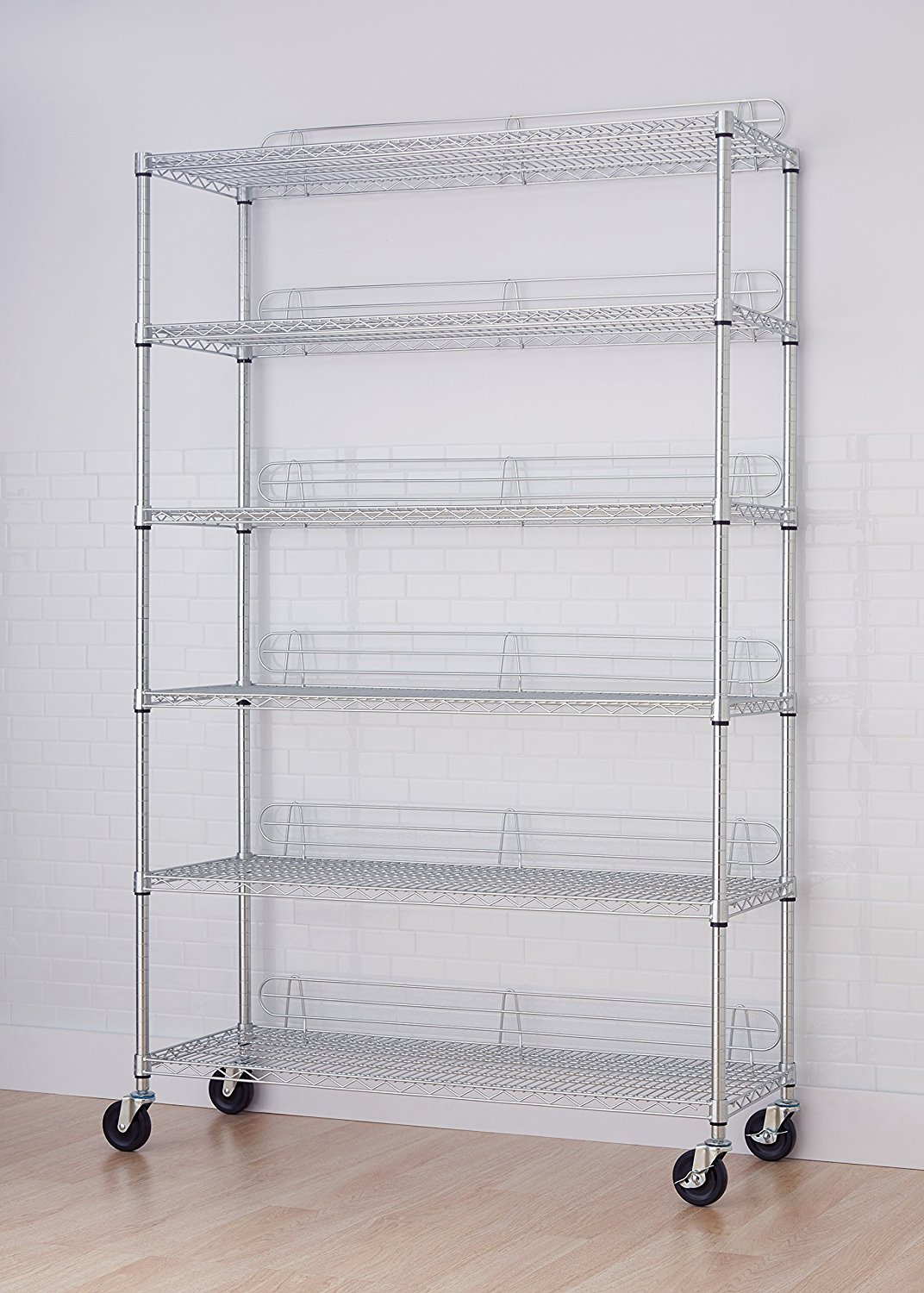 Incroyable TRINITY EcoStorage 6 Tier NSF Wire Shelving Rack With Wheels   Chrome ...