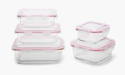 Wexley Home 10-Piece Glass Food-Storage Container Set - Red