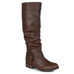 Journee Women's Extra Wide-Calf Knee High Riding Boots - Brown - Size: 8.5