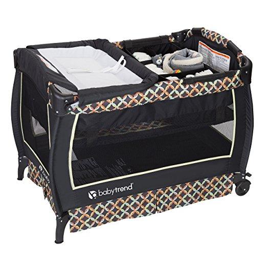 Baby Trend Circle Tech Twin Nursery Center Playard Grey
