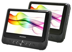 "Sylvania 9"" Twin Dual Screen DVD Player with Built-In USB/SD Card Reader"