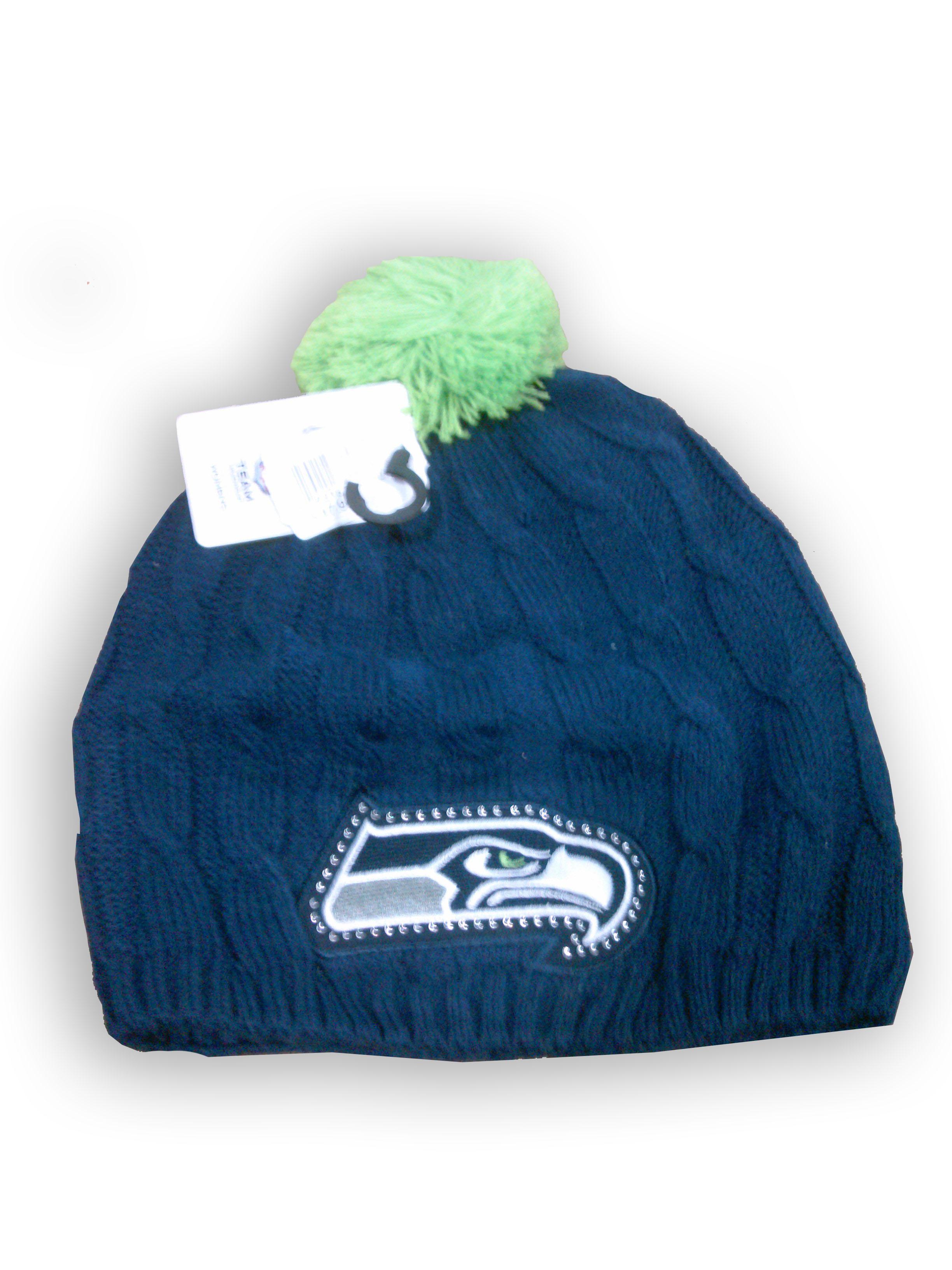 f65f9814ac4 NFL Seattle Seahawks Women s Pom Pom Beanie - Navy Lime Green ...