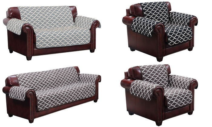 Gentil ... Coby Geometric Printed Reversible Water Resistant Furniture Cover: Sofa    Chocolate ...