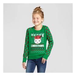 Meowy Christmas Sweater.L O L Vintage Girls Meowy Christmas Sweater Green Size