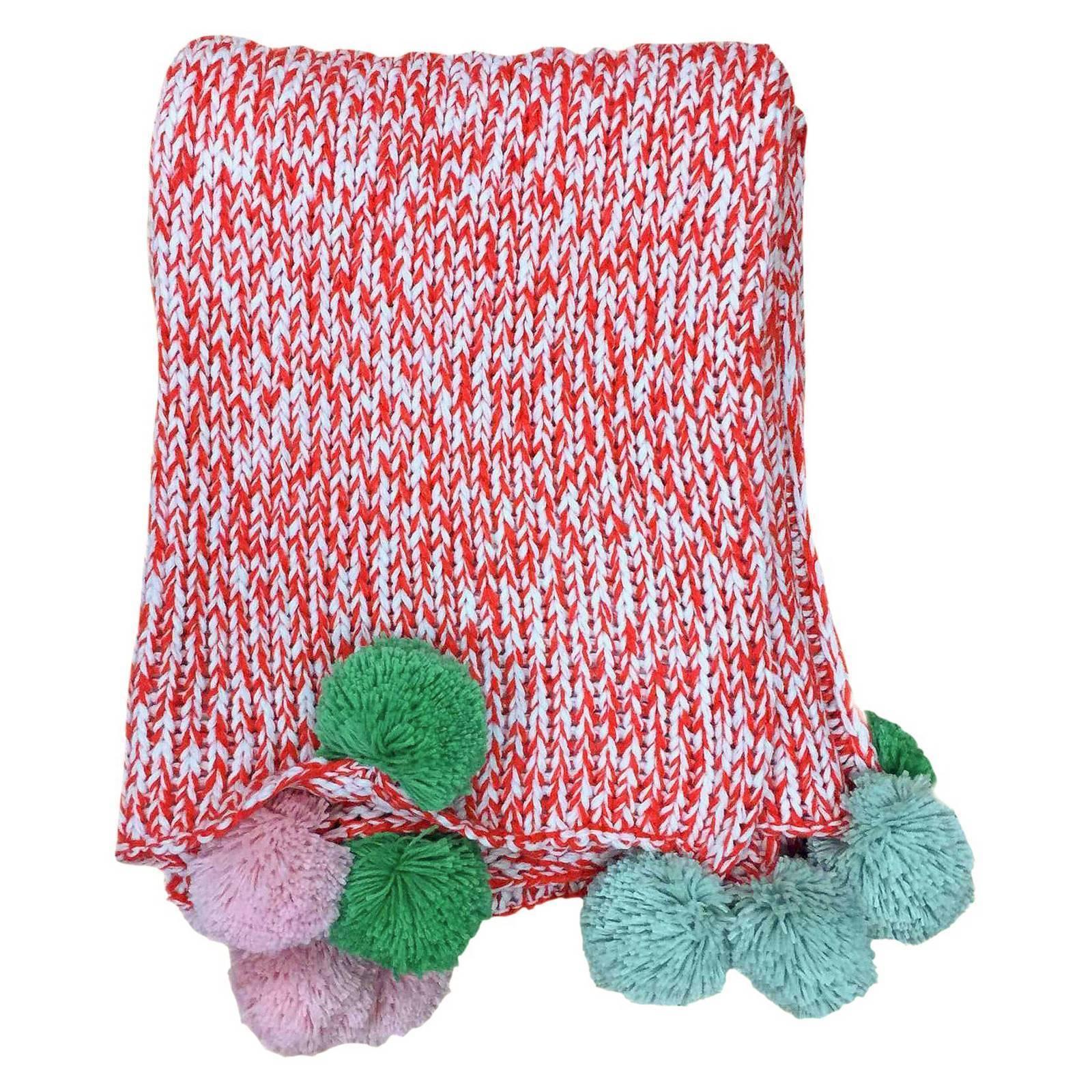 threshold pom pom marled knit throw blanket red size 60 l x 50