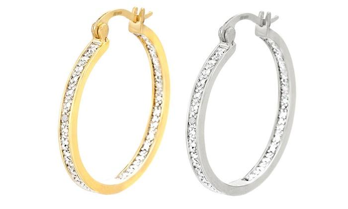 Sterling Silver Women S Diamond Hoop Earring Yellowgold Size