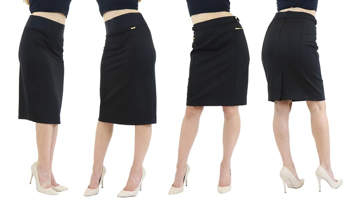 8fd971a6eab6 Harvic Women s Side Zip Pencil Skirt - Zipper   Buckle Below Knee ...