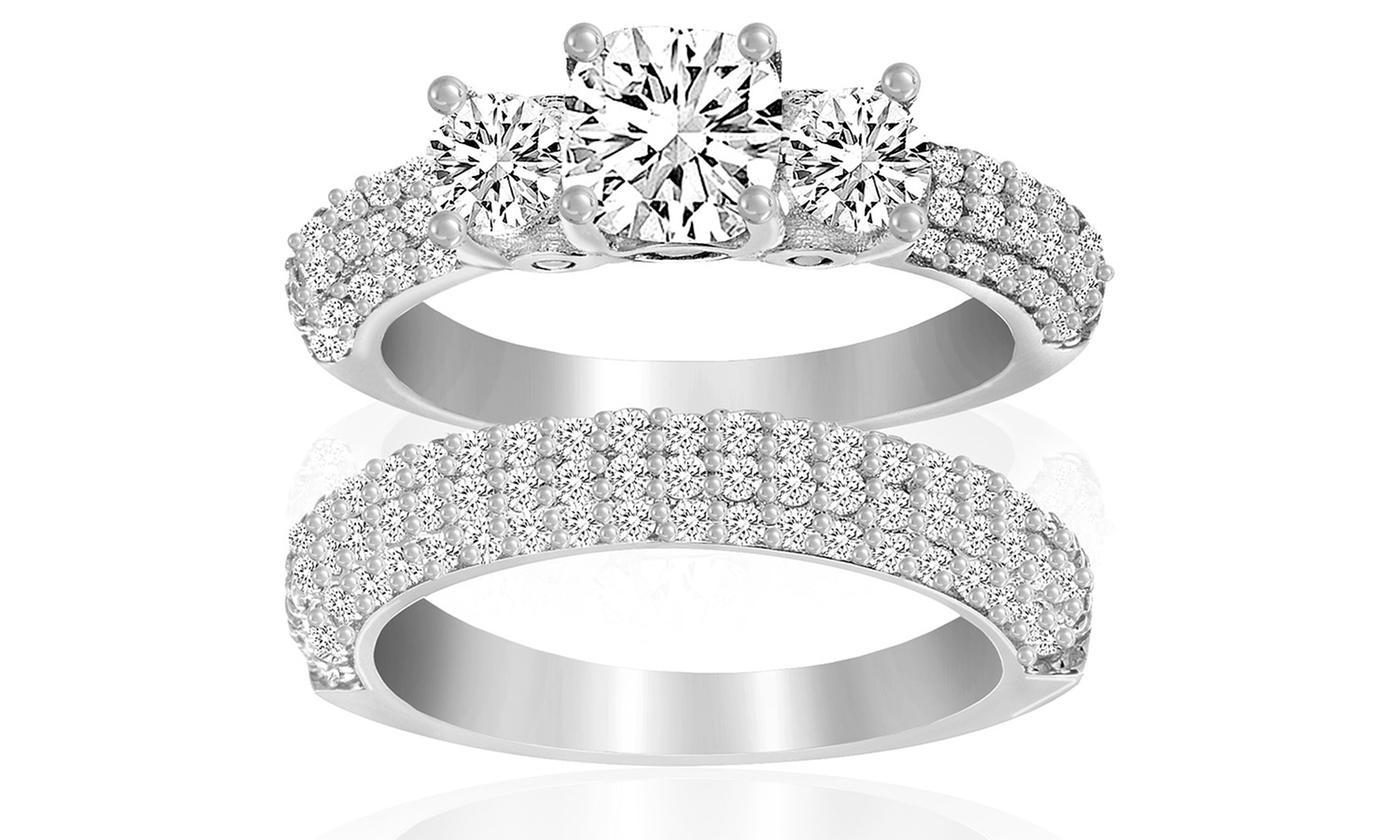 d0d454e1131 3.64 CTTW Engagement Ring Set - Swarovski Elements Crystals - Size ...