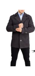 Braveman Men's Single Breasted Wool Blend Coat - Charcoal - Size: M