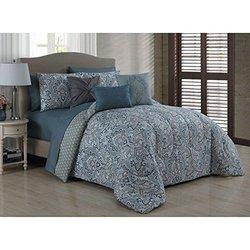 Geneva Home Reversible Bed in Bag Sheet Set - Blue - Size : Queen