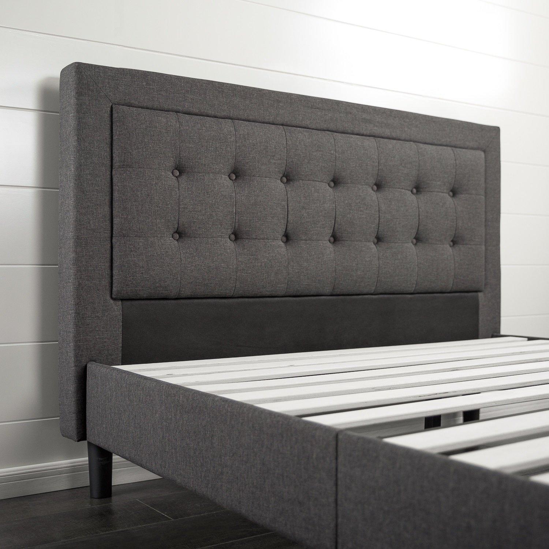 tufted platform bed. Zinus Upholstered Button Tufted Platform Bed W/ Wooden Slat Support- Queen