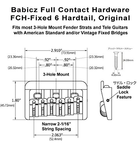 Babicz Fchht6ch Full Contact Hardware Fixed 6 Hardtail Guitar Bridge