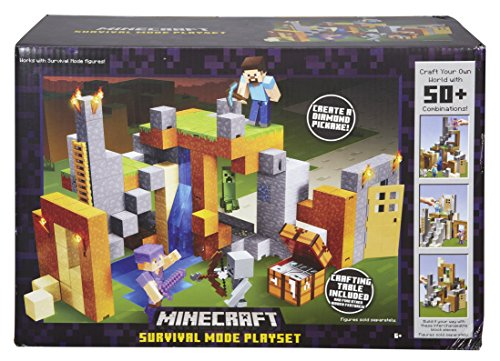 Mattel Minecraft Survival Mode Action Figure Playset For