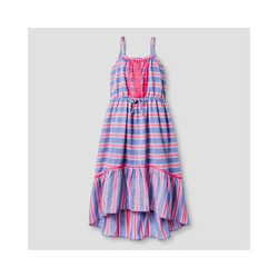 Cat & Jack Girls' Stripe Maxi Dress - Blue Stripe - Size: S (6/6X)