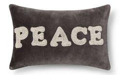 "Threshold 12""x18"" 100% Cotton ""Peace"" Toss Pillow - Radiant Grey"