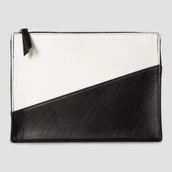Who What Wear Women's Color Block Zip Clutch - Black/White - Size: One