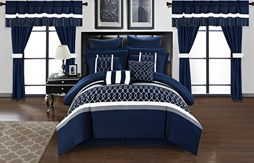 Chic Home Dinah Bed in A Bag 24 Piece Comforter Set - Navy ...