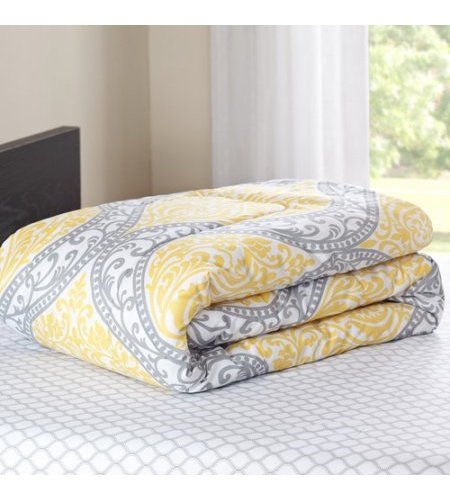 947719a14e ... Mainstays Yellow Damask Bedding Set Bed in a Bag - Yellow/Grey -Size:  ...